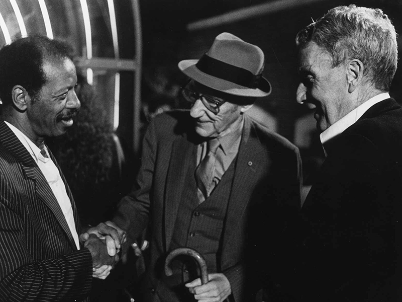 (l-r) Ornette Coleman, William S. Burroughs, and Brion Gysin