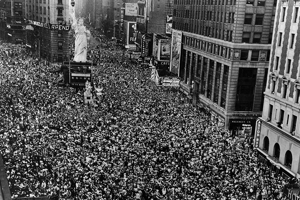 Times Square on V-J Day, August 14, 1945.